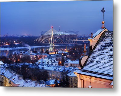 City Of Warsaw Winter Evening Cityscape Metal Print by Artur Bogacki
