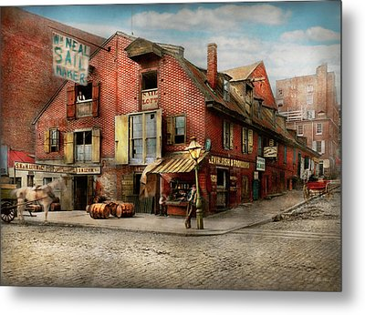Metal Print featuring the photograph City - Pa - Fish And Provisions 1898 by Mike Savad