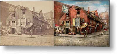 Metal Print featuring the photograph City - Pa - Fish And Provisions 1898 - Side By Side by Mike Savad
