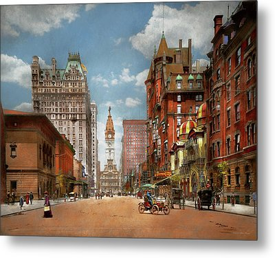 Metal Print featuring the photograph City - Pa Philadelphia - Broad Street 1905 by Mike Savad