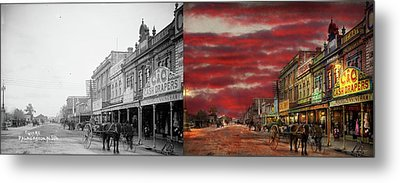 Metal Print featuring the photograph City - Palmerston North Nz - The Shopping District 1908 - Side By Side by Mike Savad