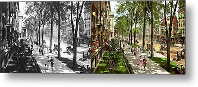 Metal Print featuring the photograph City - Saratoga Ny -  I Would Love To Be On Broadway 1915 - Side By Side by Mike Savad