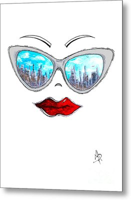 City Skyline Cat Eyes Reflection Sunglasses Aroon Melane 2015 Collection Collaboration With Madart Metal Print