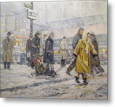 Metal Print featuring the painting City Snow Ride by Donna Tucker