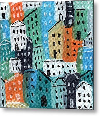City Stories- Blue And Orange Metal Print by Linda Woods