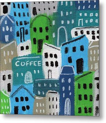 City Stories- Coffee Shop Metal Print by Linda Woods