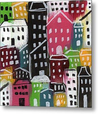 City Stories- Colorful Metal Print by Linda Woods