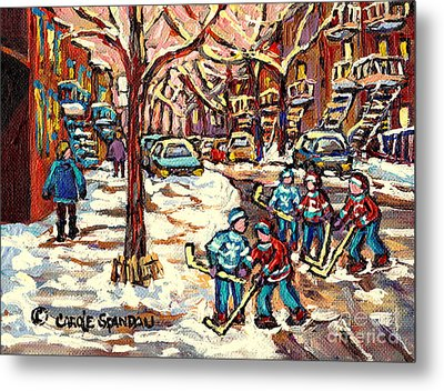 City Streets Of Montreal Winter Hockey Scene After The Snowfall Original Canadian Art Carole Spandau Metal Print