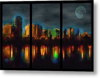 City Under A Blue Moon Metal Print
