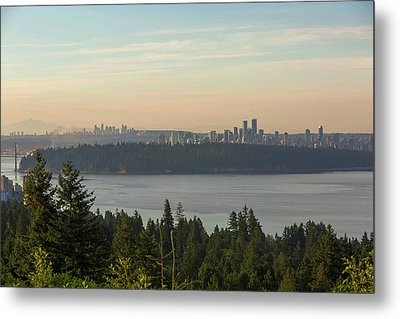 City View Of Vancouver And Burnaby Bc Metal Print by David Gn
