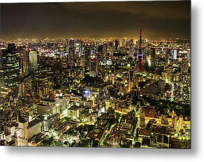Cityscape At Night Metal Print by Agustin Rafael C. Reyes
