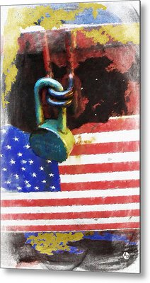 Civil Rights And Wrongs Home Land Security Flag And Lock 1 Metal Print by Tony Rubino