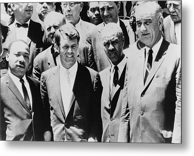 Civil Rights Leaders L To R Martin Metal Print by Everett