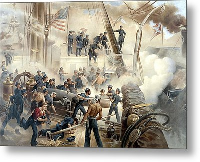 Civil War Naval Battle Metal Print by War Is Hell Store