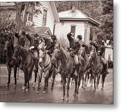 Civil War Soldiers On Horses Metal Print