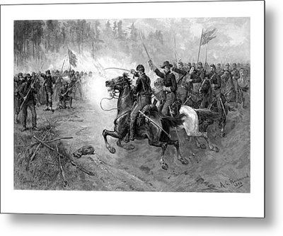 Civil War Union Cavalry Charge Metal Print