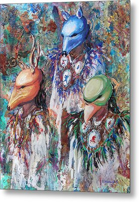 Metal Print featuring the painting Clan Dancers by Li Newton