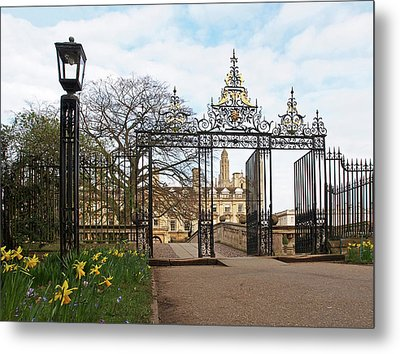 Metal Print featuring the photograph Clare College Gate Cambridge by Gill Billington