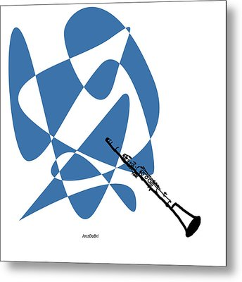 Clarinet In Blue Metal Print by David Bridburg