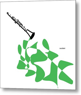 Clarinet In Green Metal Print by David Bridburg