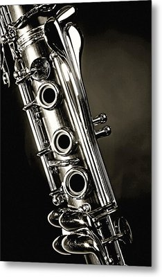 Clarinet Isolated In Black And White Metal Print by M K  Miller
