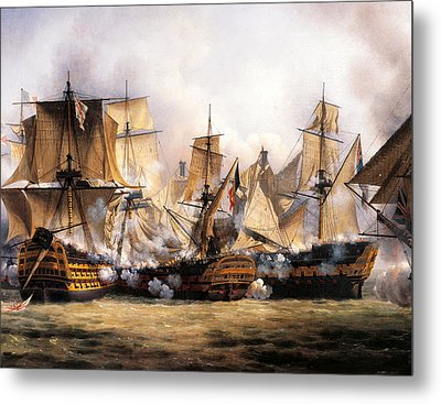 Clash Between English Temeraire And French Redoubtable Ships During Battle Of Trafalgar Metal Print