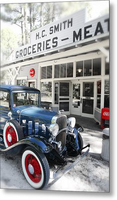 Classic Chevrolet Automobile Parked Outside The Store Metal Print by Mal Bray