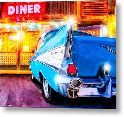 Classic Diner - 57 Chevy Metal Print by Mark Tisdale