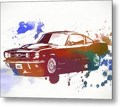 Classic Ford Mustang Watercolor Splash Metal Print by Dan Sproul