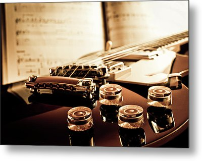 Classic Guitar Still Life With Notes Metal Print by A Driempixel Photo