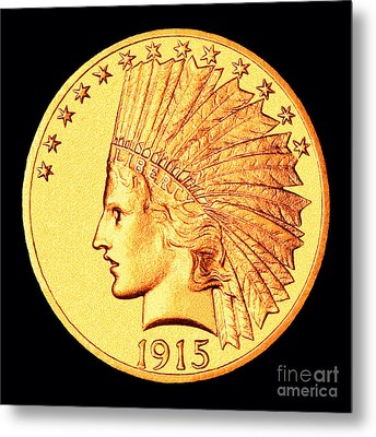 Classic Indian Head Gold Metal Print