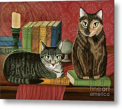 Metal Print featuring the painting Classic Literary Cats by Carrie Hawks