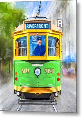 Classic Streamline Streetcar - Savannah Riverfront Metal Print by Mark Tisdale