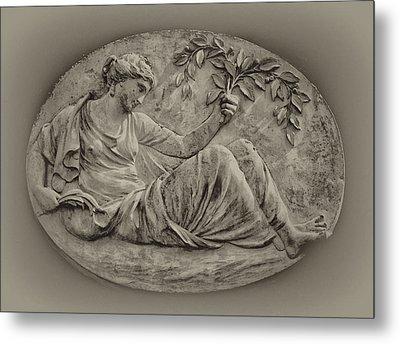 Classical Greek Woman Fresco Metal Print by Bill Cannon