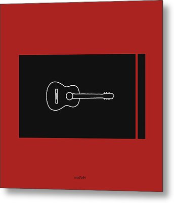 Classical Guitar In Orange Red Metal Print by David Bridburg
