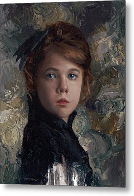 Metal Print featuring the painting Classical Portrait Of Young Girl In Victorian Dress by Karen Whitworth