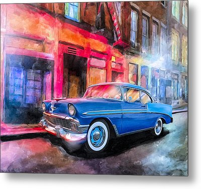 Classic Nights - 56 Chevy Metal Print by Mark Tisdale