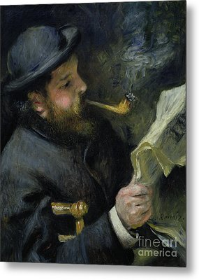 Claude Monet Reading A Newspaper Metal Print by Pierre Auguste Renoir