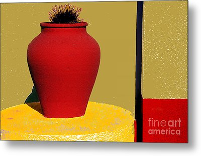 Clay Pot In Red Metal Print by Linda  Parker