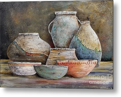 Metal Print featuring the painting Clay Pottery Still Lifes-a by Jean Plout