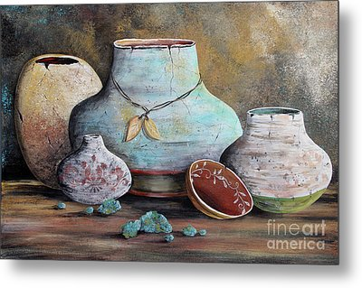Metal Print featuring the painting Clay Pottery Still Lifes-b by Jean Plout