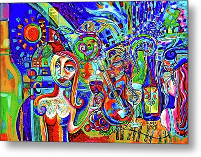 City At Night Music And Wine Abstract Metal Print