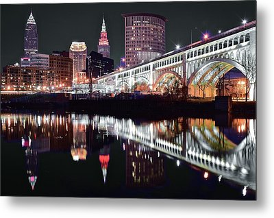 Metal Print featuring the photograph Cle In Selective Color by Frozen in Time Fine Art Photography