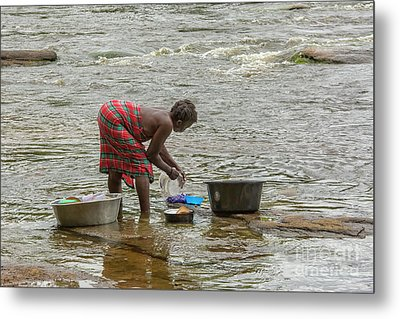 Cleaning Dishes In River Metal Print