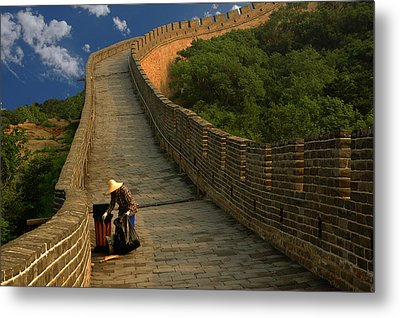 Cleaning The Great Wall Metal Print by Harry Spitz