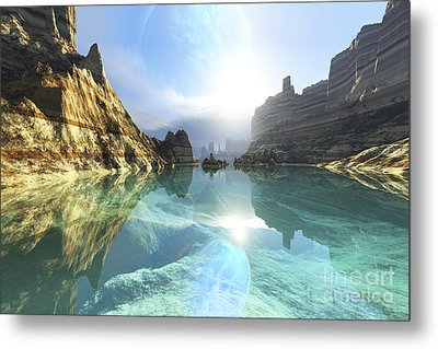 Clear Canyon River Waters Reflect Metal Print by Corey Ford