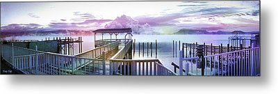 Clouds On Clear Lake Metal Print by Kathy Kelly