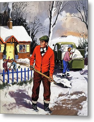 Clearing The Snow Metal Print by English School