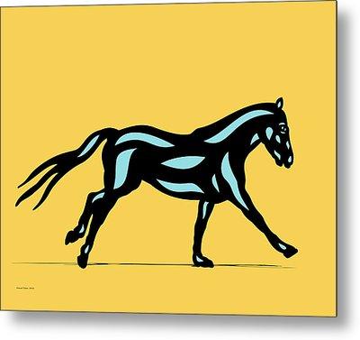 Clementine - Pop Art Horse - Black, Island Paradise Blue, Primrose Yellow Metal Print by Manuel Sueess