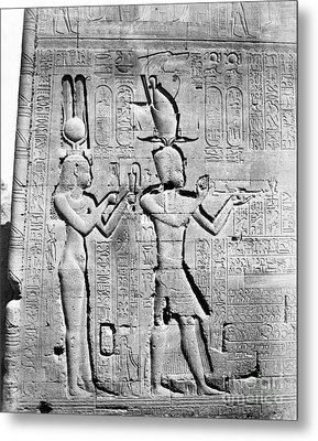 Cleopatra And Caesarion, Temple Metal Print by Science Source